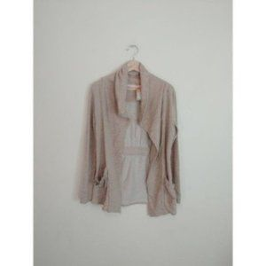 Lucy Athletic Beige Open Draped Cardigan